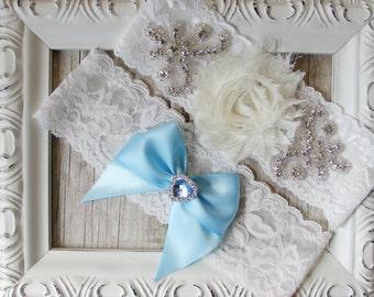 Wedding Garter Set, Bridal Garter Set, Something Blue, Ivory Lace Garter, Blue Garter