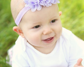 Baby headband, Customizable Flower headband, Baby girl Easter Headband, lavender elastic headband also available in several colors, EHBLV12