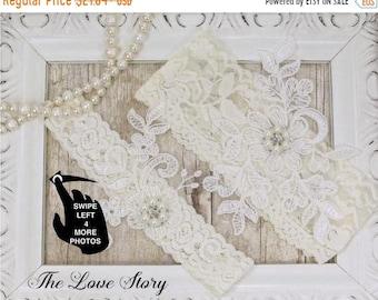 ON SALE Wedding garter set. Personalized Bridal Garter Belt. Garters for wedding, prom or bridal shower gift. Customizable garters. THE Love