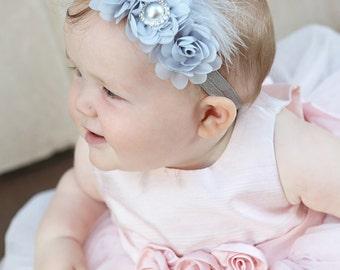 Headband, Grey headband, Baby headbands, Flower headband, Pearl headband, Prom headband, Easter Headband ,baby girl headband.