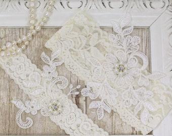 BEST SELLER Wedding Garter, Bridal Garter, Wedding Garter Set, Lace Bridal Garter Set, Ivory Bridal Garter Belt, wedding dress, Style A11221