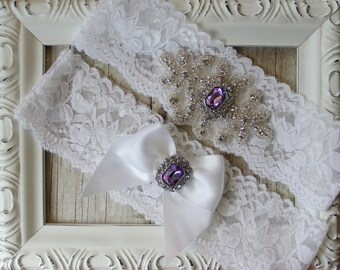 Vintage Wedding Garter Set with Purple Amethyst and Rhinestones on Comfortable Lace, Bridal Garter Set or garter for prom. The Love Story