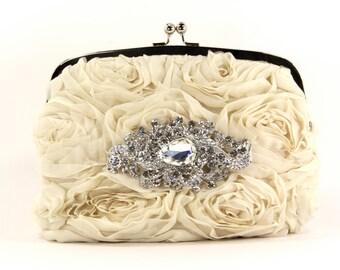 Bridal Purse, Evening bag w/ stunning Swarovski Crystal Accent, Bridal Clutch, Evening Bag, Wedding dresses, Purse, Clutch, Bag, Prom