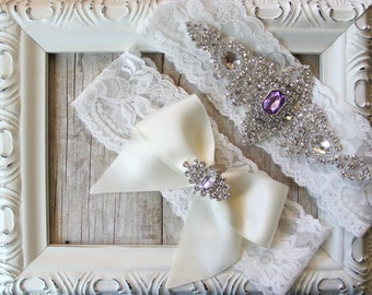 Wedding garter set - Customizable Vintage bridal garter set with Stunning Gemstone & Crystal Rhinestones on Comfortable Lace, Garter Belt