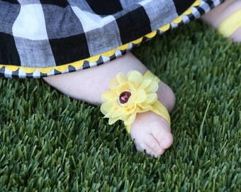 Baby Barefoot Sandals ~ Sunflower Sandals ~ Toddler Sandals ~ Newborn Sandals ~ Baby Flower Sandals ~ Flower girl sandals