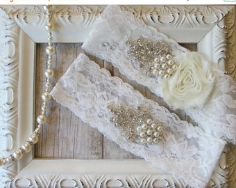 ON SALE Wedding Garter Set with an Ivory Flower on Comfortable Ivory Lace with Pearls & Rhinestones, wedding, prom, wedding dress, bridesmai
