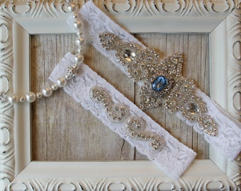 CUSTOMIZE YOUR SET - Wedding Garter Set, Bridal Garter Set, Vintage Wedding, Lace Garter, Crystal Garter Set with Topaz- Something Blue