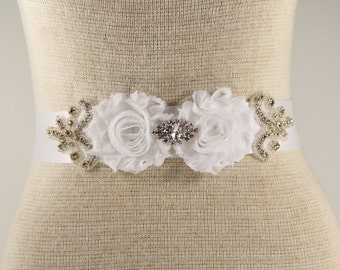White Bridal Sash - Wedding Dress Sash Belt - White Rhinestone Crystal Wedding Sash - White Rhinestone Bridal Sash