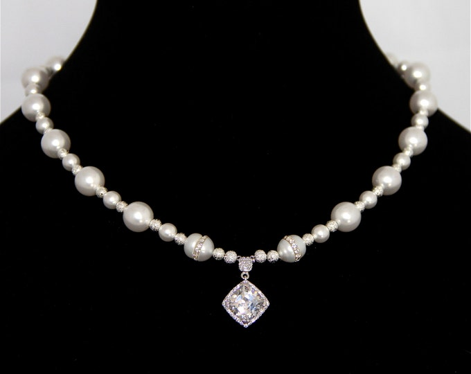 Featured listing image: Bridal Necklace - Cubic Zerconia Necklace with rare Freshwater Pearls embedded with Cubic Zerconias, Wedding Dress, Jewelry, Gift for her