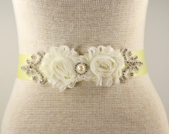 Soft Yellow & Ivory Bridal Sash - Wedding Dress Sash Belt - Pale Yellow Rhinestone Crystal Wedding Sash - Yellow Rhinestone Bridal Sash
