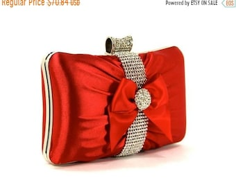 ON SALE Red Satin Wristlet Clutch Purse with Rhinestones and a Satin Bow. The Love Story