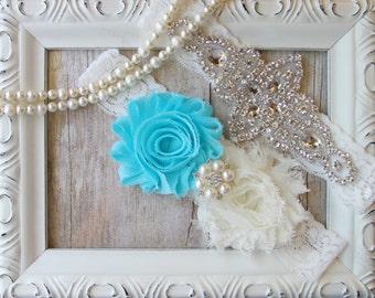 Wedding Garter Set / Customizable Wedding Garter / Something Blue / Wedding Garter / Bridal Garter / Vintage Garter / Toss garter / Wedding