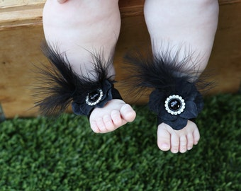 Baby shower, Barefoot sandals ~ Black Flower Sandals, Toddler Sandals, Newborn Sandals, Baby Flower Sandals, Halloween costume, baby shoes