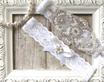 Wedding garter, CUSTOMIZE YOUR GARTER - Bridal Garter, Wedding Garter Set, Stretch Lace Garter, Bridal Garter, Wedding dress, Prom Dress