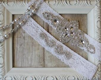 Wedding Garter Set, Bridal Garter Set, Vintage Wedding, Lace Garter, Crystal Garter Set, Garter Belt, Customizable Garter