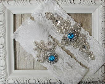 Wedding Garter Set with Exquisite Blue Rhinestones & Feathers on Comfortable Stretch Lace, Bridal Garter, Bridal shower gift, personalized