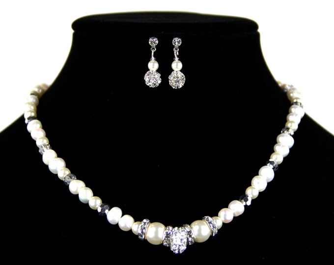 Featured listing image: Bridal Jewelry Necklace Set with Freshwater Pearls and Swarovski Crystals