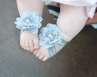 Barefoot Sandals ~ Grey Flower Sandals ~ Toddler Sandals ~ Newborn Sandals ~ Baby Flower Sandals ~ Flower girl sandals, Baby Sandals