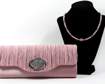 Pink Clutch - Pink Evening Bag & Necklace - Pink Purse with Gorgeous Swarovski and Pave' Crystal Handle / Necklace, gift for her