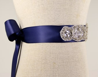 Bridal Sash - Wedding Dress Sash Belt - Royal Blue Rhinestone Crystal Wedding Sash - Royal Blue Bridal Sash - Flower girl Sash - Prom Dress