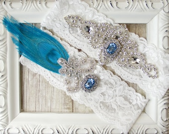 Peacock Wedding Garter, NO SLIP wedding garter set, Wedding Garter, Bridal Garter, Garters for Wedding dresses, Garter belt Style A11P