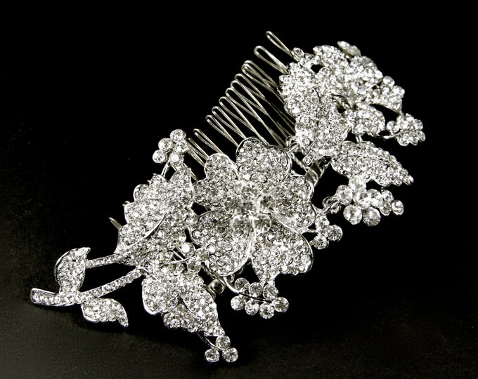Featured listing image: Bridal Hair Comb, crystal bridal comb, wedding veil comb, rhinestone bridal comb, crystal hair comb, wedding hair comb, vintage hair comb