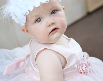 Baby headband, feather headband, headbands for girls, newborn headband, crochet headband, baby girl headband, flower girl headband