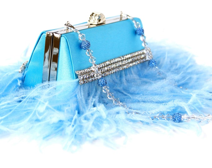 Featured listing image: Baby blue Clutch, Blue Ostrich Feather Evening bag w/ Swarovski & Pave' Crystal Handle/Necklace - Something blue, blue purse, blue clutch
