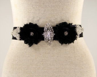 Bridal belt - prom sash, bridal sash - Black satin sash, Rhinestone Crystal Wedding Sash - Black Rhinestone Bridal Sash, wedding dresses