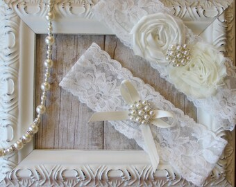 Wedding garter set / bridal garter/ lace garter / bridesmaid gift / wedding garter / vintage inspired lace garter/ customizable