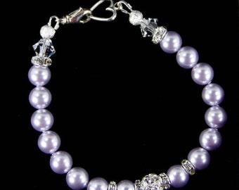 Pearl Bracelet - Genuine Swarovski Crystal Pearls & Pave' Crystal Bracelet - Bridal Jewelry - Bridal Bracelet