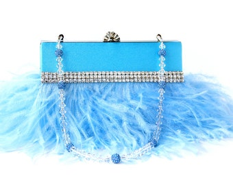 Blue Wristlet Clutch purse, Ostrich Feather Evening bag w/ Swarovski & Pave' Crystal Handle/Necklace, Something blue, handmade gift