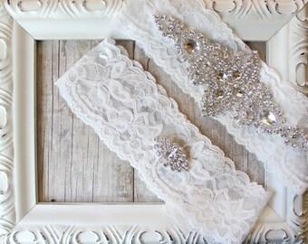 BRIDAL GARTER - Vintage Wedding Garter Set with Stunning Crystal Rhinestones on Comfortable Lace, Bridal Garter Set, Crystal Garter Set