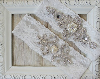 Wedding garter set - Lace Vintage Garter Set on Comfortable Lace, Bridal garter, garters for wedding, Garter, Garter Belt, THE LOVE STORY