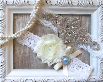 Wedding garter - Customizable Wedding Garter w/ toss - Aqua Blue Garter, Something Blue, Crystal Garters, Bridal Garter, Rhinestone Garter