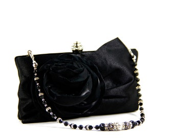 Black Purse - Black Clutch - Black satin evening bag with Swarovski crystal purse handle that can also be worn as a necklace, black clutch
