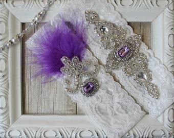 "Wedding garter - Vintage Garter Set w/""gemstones"" and Rhinestones on Comfortable Stretch Lace, No Slip Wedding Garter for weddings or prom"