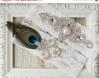 Wedding garter set - Custom Peacock Garter Set w/ Peacock Feather, Rhinestones and Pearls, Peacock wedding, peacock wedding dress, prom
