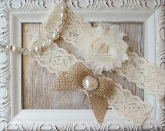CUSTOMIZE IT! Garter Set - Ivory Wedding Garter Set, Bridal Garter Set, Soft Stretch Lace Garter ~ Bridal Garter, Rustic Wedding Garter Set