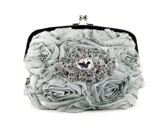 Gray Silk Wristlet Clutch Purse w/ stunning Swarovski Crystal Accent, Bridal Clutch,Evening Bag, Grey Wedding purse, wedding dress, prom