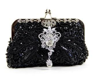 Black purse, black clutch, Black Beaded Evening Bag- Black Beaded Clutch, Evening Bag - Black Clutch, little black dress