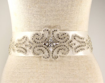 Ivory Bridal Sash - Wedding Dress Sash Belt - Ivory Rhinestone Crystal Wedding Sash - Ivory Rhinestone Bridal Sash