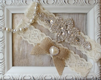 Rustic Garter Set, Customizable Garter w/Toss - Ivory Wedding Garter Set, Lace Bridal Garter, Rustic Wedding Garter Set, Rustic Wedding