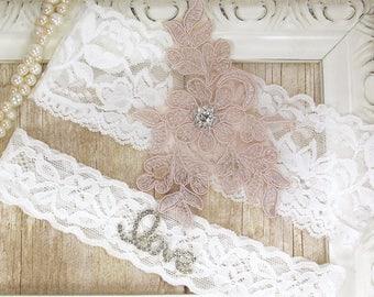 Wedding Garter Set , Customizable Lace Garter Set, Toss Garter , Keepsake Garter, Bridesmaid Gift, Prom, Wedding Gift, Garter