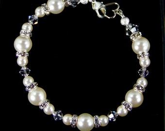 Jewelry, Pearl Bracelet, Genuine Swarovski Pearl Bracelet w/ Clear Swarovski Crystals, bridal shower, bridesmaid gift, mother's day gift