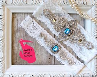 Garter Set - Wedding Garter w/ toss - gift for her, Something Blue, Crystal Garters, Bridal Garter, garters for wedding, prom, garter belt