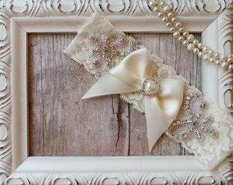 "Wedding garter - Customizable Vintage Garter w/ ""Pearls"" and Rhinestones on Comfortable Lace, Wedding Garter. Crystal Garter"
