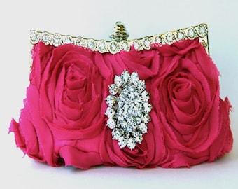 Hot Pink Silk Evening Purse - Bridal Clutch with Swarovski Crystal Accent, Pink Purse, Pink Cluctch, Pink bag, Pink evening bag
