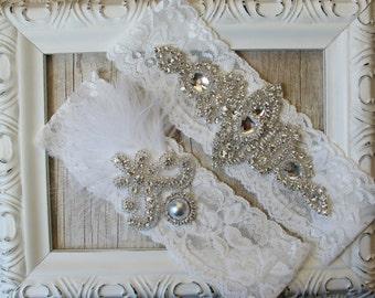 "Wedding garter - Vintage Garter Set w/ ""Diamonds & Pearls"" on Comfortable Lace, wedding garter set, garter Set, bridesmaid gift, prom"