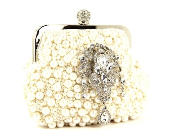 Bridal Clutch - Pearl Purse, Exquisite Soft Off White Silk Pearl Bridal Clutch adorned with a Lovely Rhinestone Accent - Pearl Purse